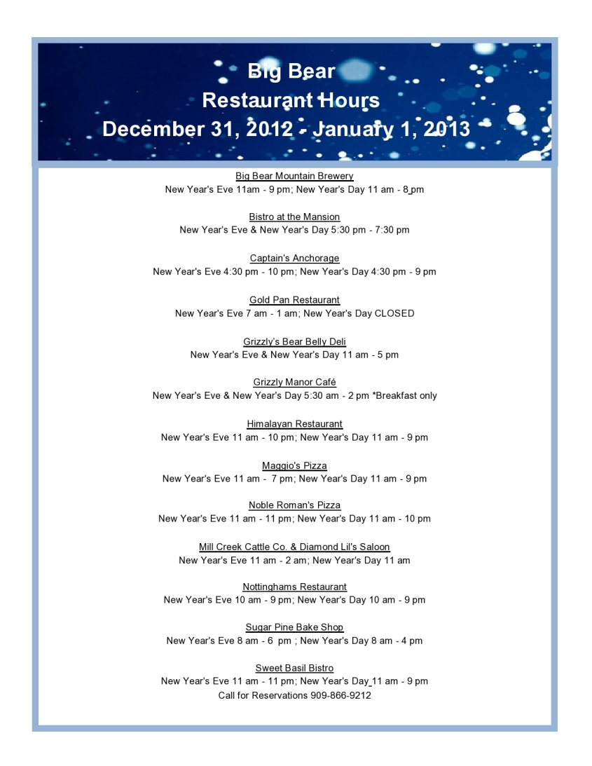 New Year's Eve 2012 Restaurant Listing